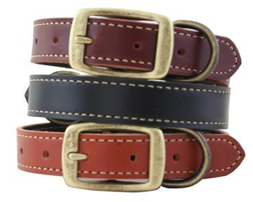 Leather Lake Country Stitched Dog Collar - 16 - Burg