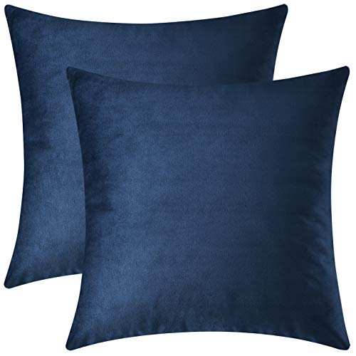 Mixhug Decorative Throw Pillow Covers, Velvet Cushion Covers, Solid Throw Pillow Cases for Couch and Bed Pillows, Navy Blue, 20 x 20 Inches, Set of 2