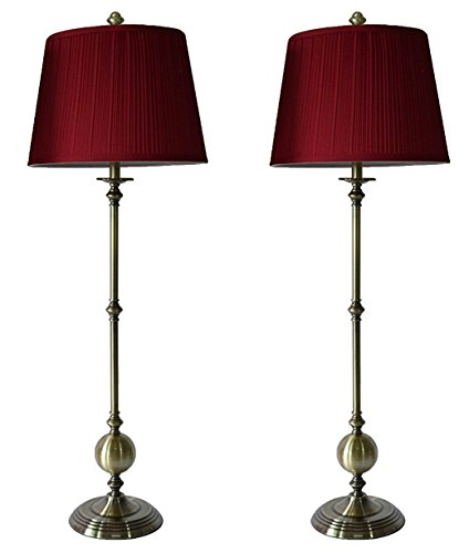 (Urbanest Set of 2 Bastille Buffet Lamps in Antique Brass with Burgundy Pleated Shades)