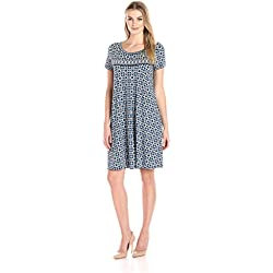 Lark & Ro Women's Short Sleeve Scoop Neck T-Shirt Dress