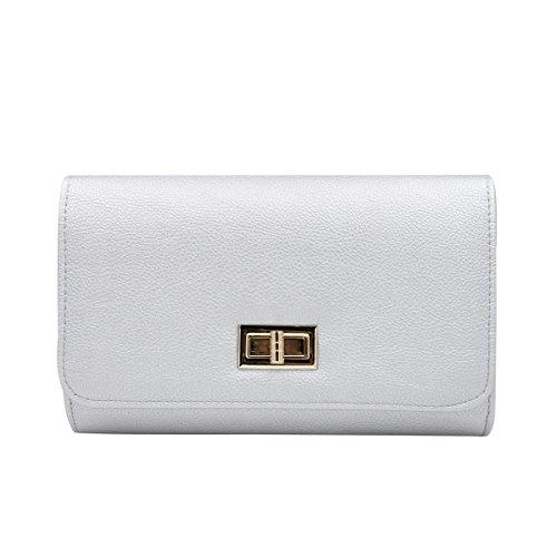 Premium Solid Color PU Leather Turnlock Flap Clutch Bag Handbag, Silver