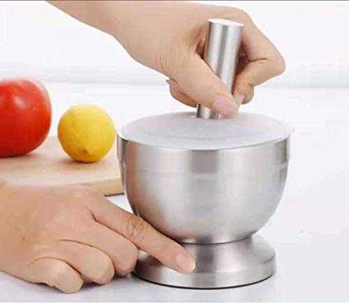 Spice Grinder, Ouioui Stainless Steel Mortar and Pestle Set with Lid for Crushing Grinding Ergonomic Design with Anti Slip Base and Comfy Grip, Silver