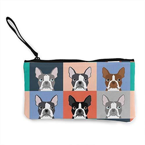 TLDRZD Boston Terriers Tile Bulldog Dog Set Pattern Wallets for Women Card Holder Zipper Purse Phone Clutch Wallet Wristlet with Wrist Strap