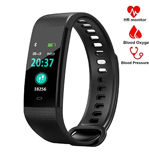 Blood Pressure Monitor Watch,Waterproof Color Screen Fitness Tracker with Heart Rate Blood Oxygen Monitor,Smart Wristband with Calorie Counter Watch Pedometer Sleep Monitor Bluetooth Bracelet