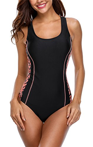 belamo Womens Athletic one Piece Swimsuit Sun Protection Racerback 1pcs Swimwear
