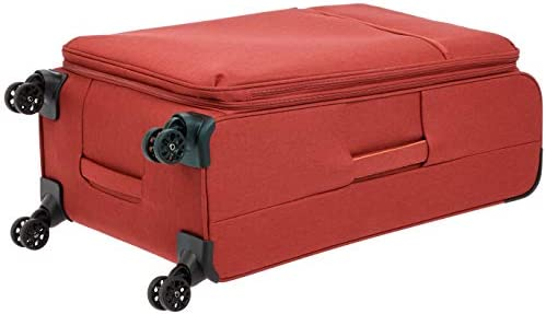 AmazonBasics Belltown, Softside Expandable Luggage Spinner Suitcase with Wheels, 31 Inch, Red