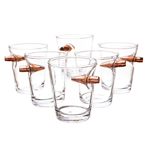 .308 Authentic Real Bullet hand blown Shot Glass Set of 6
