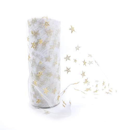 (Tulle Rolls by IMXTURO with Sparkling Gloden Stars for Party Wedding Decoration, 6 inch x 10 Yards (White))