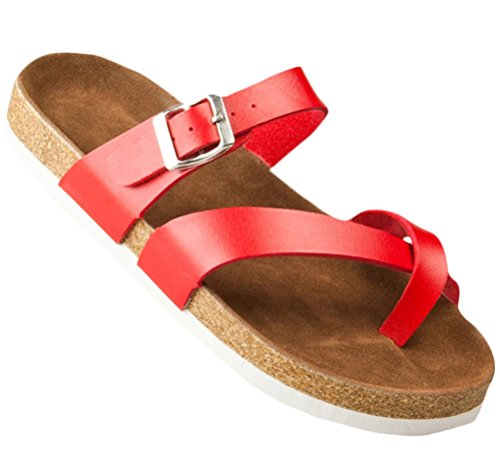 Mujeres Ladies Flat Soft Wood Sole Footed Keen Zapatillas Athletic Sandals Plus Size Red