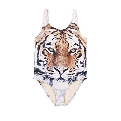 Toddler Baby Girls Boys Swimwear Tiger One Piece Swimsuit Bathing Suit Brown Black 5-6t baby girls/110