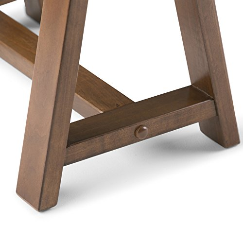 Simpli Home 3AXCSAW-10 Sawhorse Solid Wood Modern Industrial 84 inch Wide L-Shape Corner Desk in Medium Saddle Brown