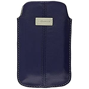 Krusell Luna Large Premium Leather Pocket Pouch for iPhone 4 / 4S and other Smartphones with 3.5 / 4.0 inch Screen - Navy Blue