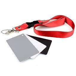 DSLRKIT 3in1 Digital Grey Card White Black 18% Gray Color White Balance Strap