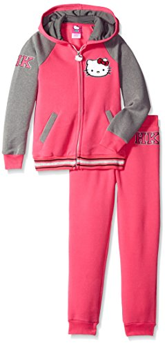 Hello Kitty Little Girls' Varsity Active Set with Lurex Rib and Print, Pink, 5