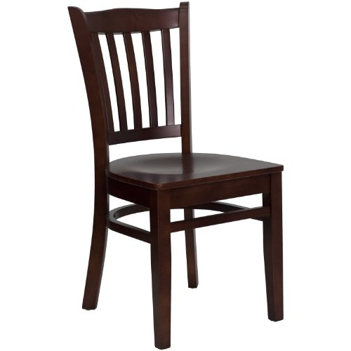 MFO Mahogany Finished Vertical Slat Back Wooden Restaurant Chair