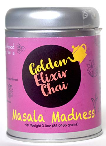 Golden Elixir Chai - Masala Madness - Makes 80 Cups - 3 Ounce Instant Masala chai tea Powder with GMO-free Spices - Instant Indian Tea - No Steeping - No dairy - No Sugar