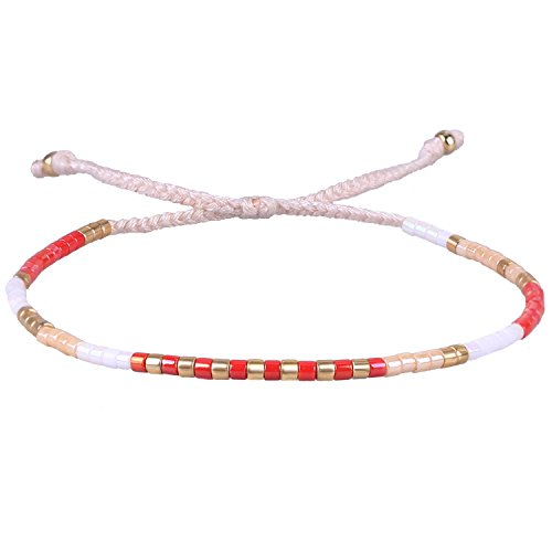 KELITCH Red Agate Shell Beaded Bracelets Handmade Friendship Bracelets New Bangle (White)