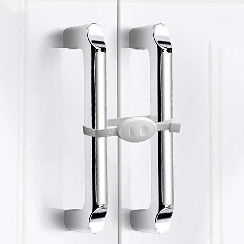 Safety Cabinet Locks Safety Ties Cabinet Locks Baby Safety Locks Childproof Cabinet Latch for Kitchen Child Safety For Baby Proofing Cabinets Kitchen Door No Drill No Screw No Adhesive/White(4 Pack)