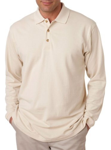 ultraclub-adult-long-sleeve-classic-pique-polo-shirt-stone-8532-m