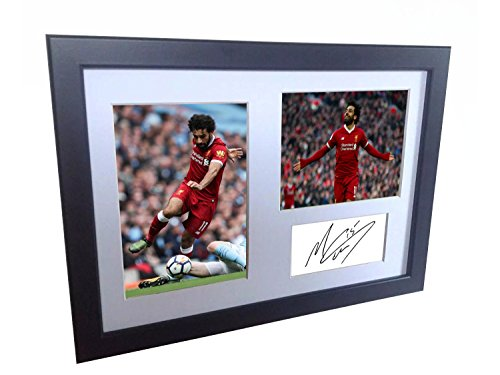 Mohamed Mo Salah 12x8 A4 Signed Liverpool FC - Autographed Photo Photograph Picture Frame Gift Soccer by Kicks