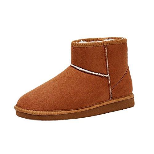 Minetom Mujer Zapatos Clásicos Botines Botas De Invierno Calentar Casual Cómodo Botas marrón