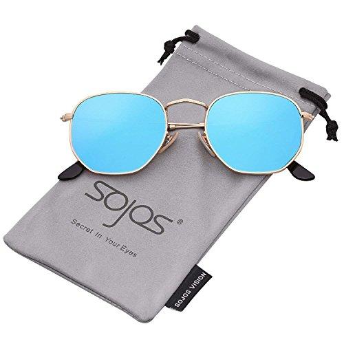 C4 Mirrored Bolara soleil Frame Lens Gold de Blue Femme Lunette WrIxInF8q4