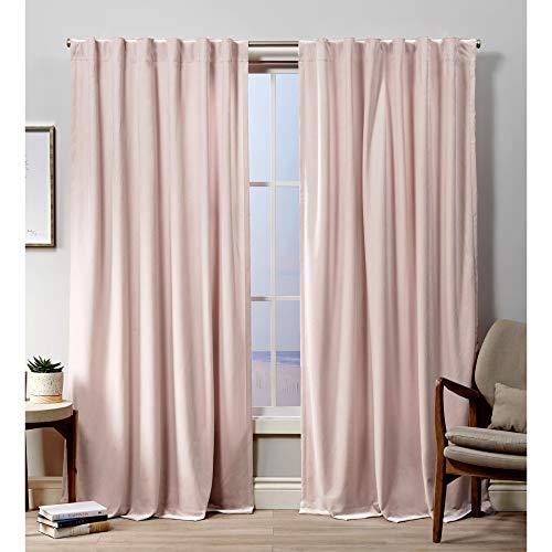 Exclusive Home Curtains Velvet Hidden Tab Top Curtain Panel, 52x84, Blush, 2 Panels