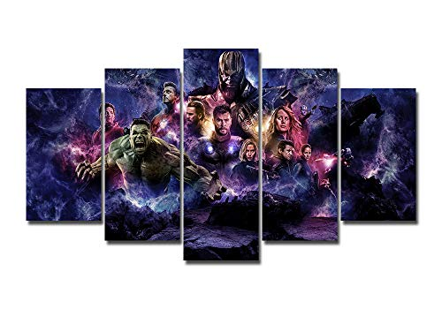 LMPTART(TM Framed 60x32 inches 5panels Print Avengers Endgame Marvel Comics Superheroes Movie Poster Gift for Children Kids Decor Canvas Wall Art Painting Home Decor Wall Art Picture Ready to Hang