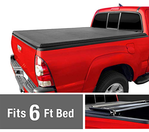 Tri-Fold Truck Bed Tonneau Cover works with 1982-2013 Ford Ranger; 1994-2011 Mazda B-Series Pickup | Styleside 6' Bed