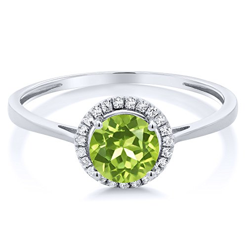 10K White Gold Diamond Engagement Ring Round Green Peridot (1.07 cttw, Available in size 5, 6, 7, 8, 9)
