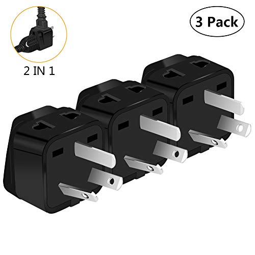 Australia Power Plug Adapter, UROPHYLLA US to Australia Adapter, Type I Outlet Travel Power Adapter Plug for Australia, China, New Zealand,Argentina,Cook Islands,Fiji- 3 Pack & Grounded 2 in 1 [Black] (Australia Adapter Plug)