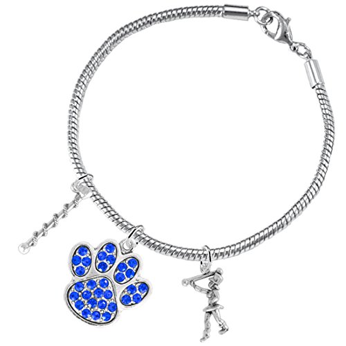 The Perfect Gift, Majorette Jewelry Blue Crystal Paw Hypoallergenic Adjustable, Safe-Nickel, Lead Free