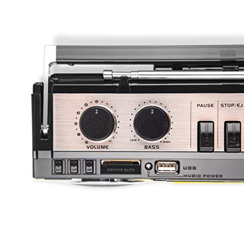 Amazon.com: Riptunes Cassette Boombox, Retro Blueooth Boombox, Cassette Player and Recorder, AM/FM/ SW-1-SW2 Radio-4-Band Radio, USB, SD, Headphone Jack, ...
