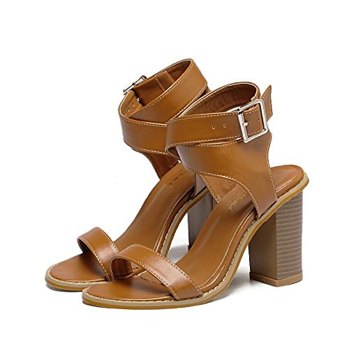 amp; femmes Printemps été Robe pour Talons Cool cheville orteil Carrière hauts ouverts BROWN Chunky bottes Sandales automne talons sangle LvYuan Bureau Décontracté mxx romaines 38 Simple n1qXxIH