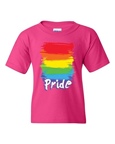 ARTIX Pride Rainbow Youth's Unisex T-Shirt Gay Equal Rights Shirts Youth Large Heliconia Pink