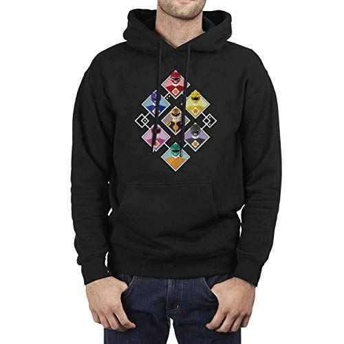 SINGKING Black Men Pullover Hoodie Sweatshirt Power-Ranger-Logo- Fleece Long Sleeve