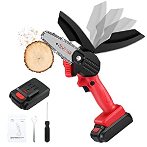 Mini Chainsaw, Elikliv 4-Inch Cordless Chain Saws with Rechargeable Battery, 24V Electric Handheld Chainsaw, Mini…