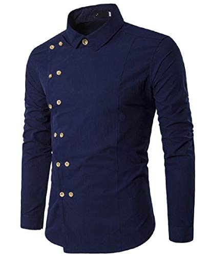 Zimaes-Men Solid Plus Size Slim Fit Double-Breasted Western Shirt Navy Blue Small