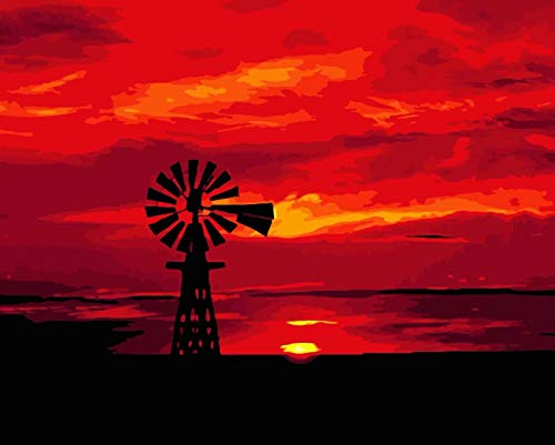 DIY Paint by Numbers for Adults DIY Oil Painting Kit for Kids Beginner - Sunset Windmill Landscape 16