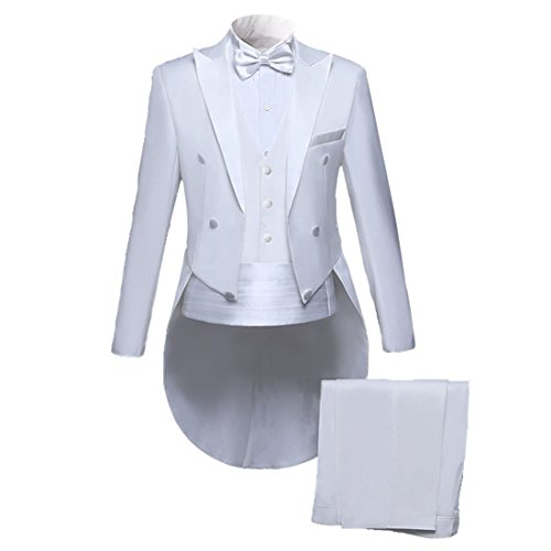 PYJTRL Men Classic 5 Piece Set Tailcoat Tuxedo (Jacket+Pants+Vest+Bow Tie+Cummerbund (White, 2XL/US 42R)