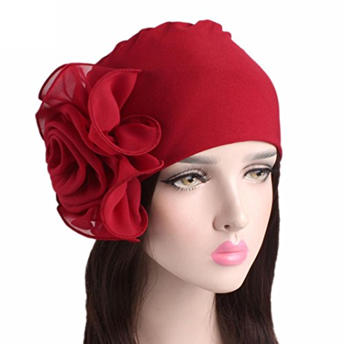 Fiaya Women Ladies Retro Stretchy Big Flowers Head Wrap Hat Turban Brim Hat Cap Pile Cap - Big Woman Head