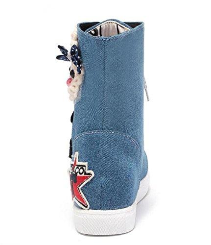 Pinglian Big Size en Courtes Manches Chaussures Forme Rayures Bottes Élégant à HETAO Martin Bottes Round de Bottes Blue de Tempérament de à Femme Head en Dentelle Student Denim personnalité Talons BwYnROxgq6