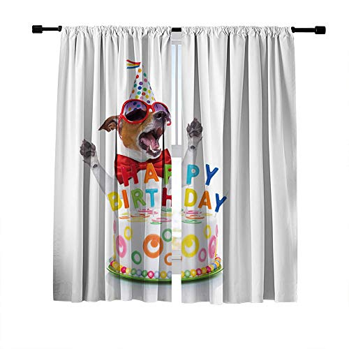 (Misscc Room Darkening Window Panels Blackout Curtains,Jack Russell Dog Wearing Red Tie and Party Hat Behind Funny Cake Pattern Window Draperies,Bedroom Living Room Kitchen Window Curtains 2 Panels Set)