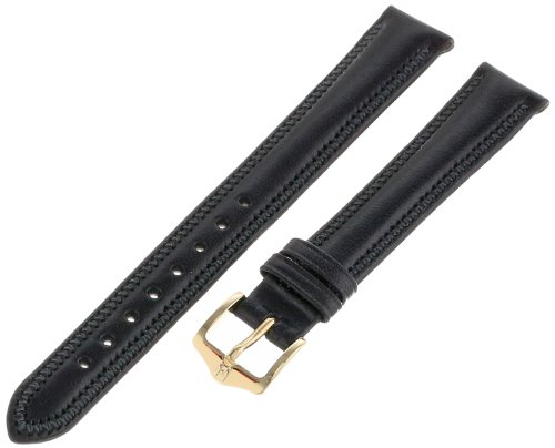 Hirsch 12mm Leather Watch Strap, Color:Black (Model: 015751-50-12)