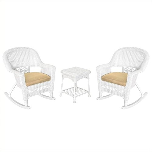 Jeco 3pc Rocker Wicker Chair Set in White with Tan Cushion