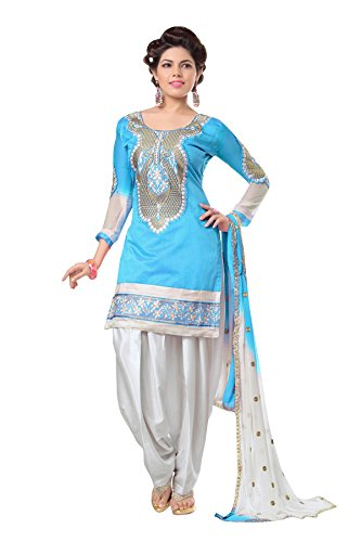 Zombom Chanderi Cotton Embroidered Un Stitched Salwar Suit Dress Material