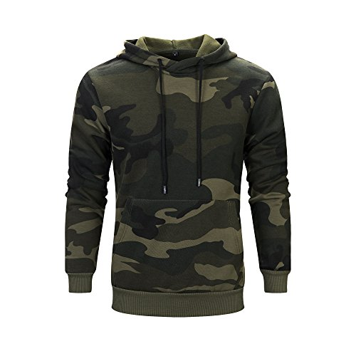 LBL Men's Camouflage Pullover Hoodies Camo Hooded Sweatshirts Army Green L 03