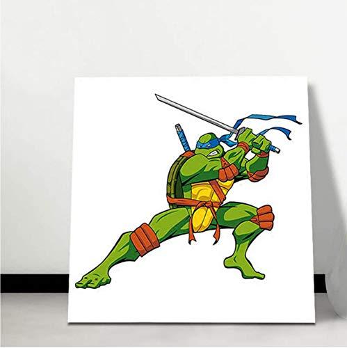 kkxka Frameless Teenage Mutant Ninja Turtles DIY Cartoon Poster Pictures Digital Paint by Numbers Gift for Boys Room Decoration,40X40Cm -
