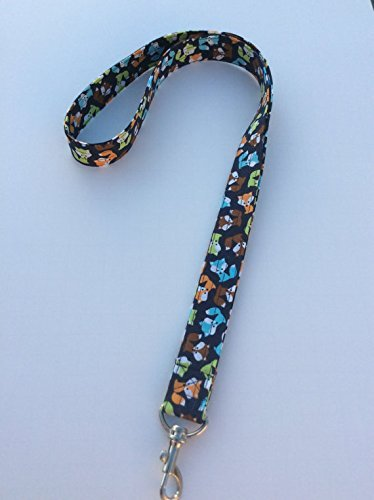 Navy Blue Fox Lanyard Keychain ID Badge Fabric Key Keeper Necklace Novelty
