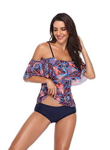Memory baby Women's Plus Size Floral Tankini Set Two Piece Swimsuit Blue Orange L by Memory baby (Image #4)